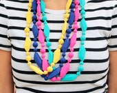 SALE!! Silicon Baby Teething Necklace -Baby Shower Gift New Mom Gift- Chew Beads