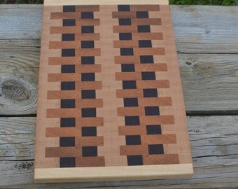 End grain cutting board walnut Maple and cherry wood