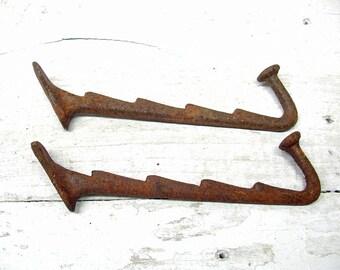 Coat hooks Large Repurpose Hooks Rusty Salvage Hooks Hardware