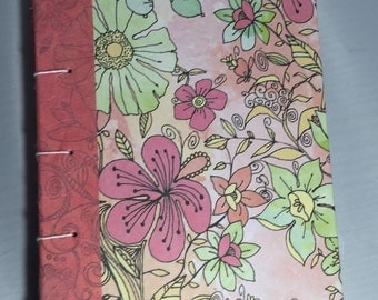Salmon Pink Floral Sketch book Diary Journal Wedding Guest Gift