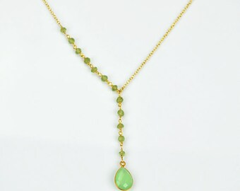 August birthstone necklace, Green Chalcedony necklace, Peridot necklace, bohemian necklace, long necklace, lariat necklace, y necklace