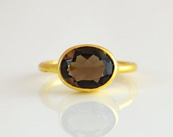 Smokey Quartz Ring - Gemstone Ring - Stacking Ring - Gold Ring - Oval Ring - bezel set ring - smokey quartz jewelry - smokey topaz