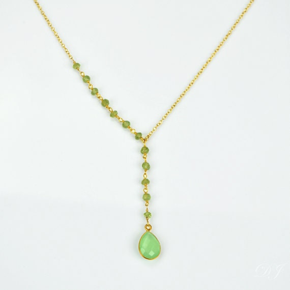 August birthstone necklace green chalcedony necklace peridot