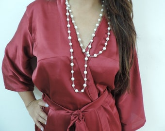 Code: H-3 Satin Solid Color Kimono Crossover patterned Robe Wrap - Bridesmaids gift, getting ready robes, Bridal shower favors, baby shower