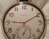 Deco ELGIN Pocketwatch 1938 15 Jewel 20 Year Gold Filled Pocket Watch Size 12 Sold AS IS