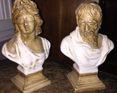 Vintage Italian Neoclassic Bust Figurines Pair Signed Italy Ancient Greek or Roman Figures