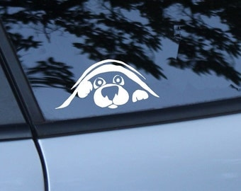 Dog Peeking Car Decal, Animal Lover Gift, Dog Rescue, Love My Dog, Dog Sticker, Bumper Sticker