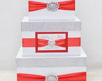 Card box / Wedding Card Box / Wedding money box - 3 tier - personalized - white and red