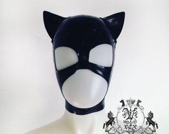 Latex Rubber Catwoman Cat Hood Mast Halloween - by VEX
