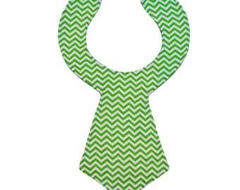 Green Chevron Baby Necktie Bib