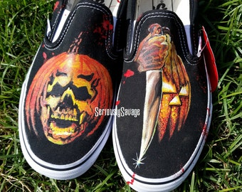 Halloween I and II Evil Jack O Lantern Poster Glow In The Dark Custom Painted Classic Horror Movies Vans Converse Toms shoes. Bloody Good!