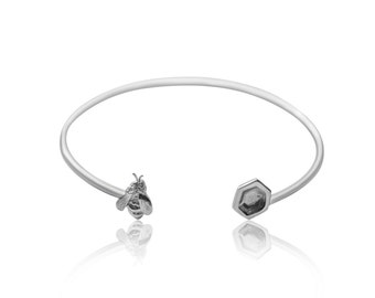 Kiss Me, Honey Honey                       -solid silver bee and honeycomb bangle
