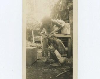 Village Barber, Vintage Snapshot Photo (66477)