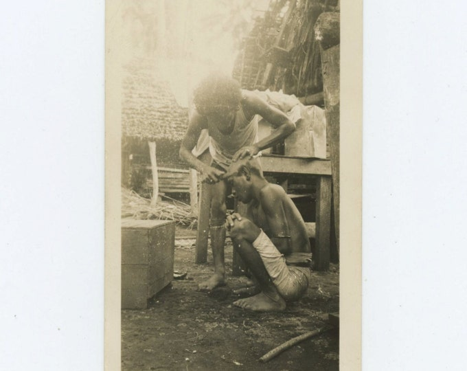 Village Barber, Vintage Snapshot Photo (66477)