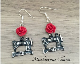 Vintage Singer Sewing Machine Crafty Charm Earrings