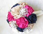 Bridesmaid Fabric Bouquet with Brooches and Embellishments