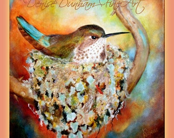 Hummingbird Nesting Artwork and Notecards