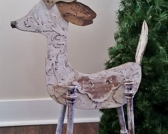 Christmas in July Reindeer Christmas Decor, Recycled, Repurposed One of a Kind. Vintage Look Deer Distressed White Finish