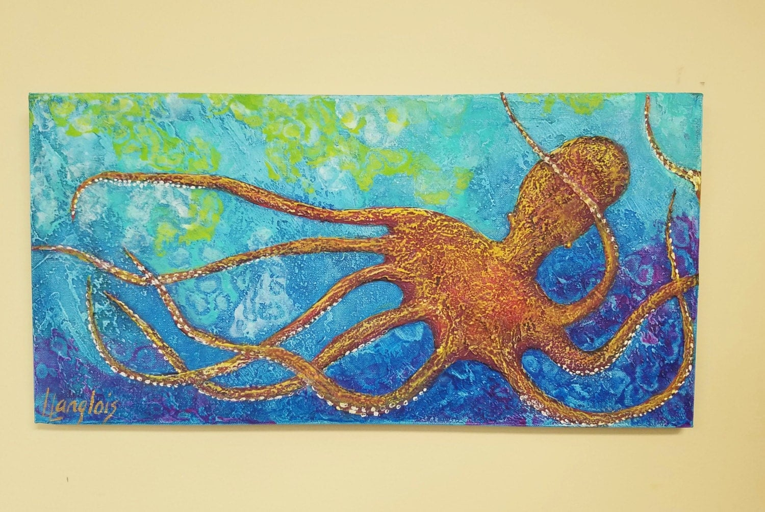 Octopus painting colorful orange textured octopus ocean for Colorful octopus painting