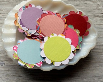 Paper scallops with circles, gift tags, cupcake toppers 2 inch diameter set of  6