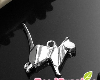 CH-ME-09346-  Nickel Free, Lead free, Silver plated - Origami charm, Walking Cat, 2 pcs