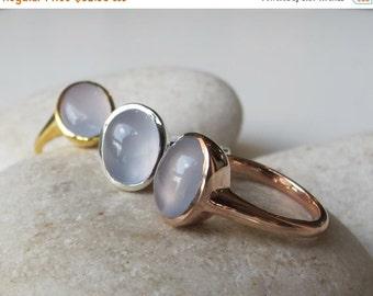 SALE Chalcedony Ring- Topaz Ring- Blue Topaz Ring- Rose Gold Ring- Blue Stone Ring- Stone Ring- Gemstone Ring- Quartz Ring- Blue Ring
