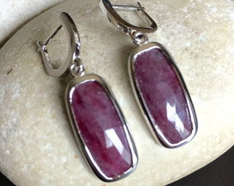 Ruby Statement Earring- Sterling Silver Earring- Long Dangle Earring- Red Gemstone Earring- July Birthstone Earring- Lever Back Earring