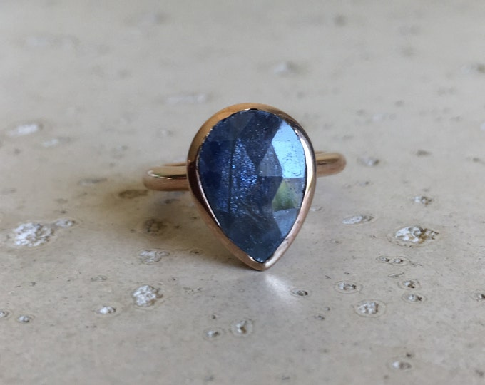 Rose Gold Engagement Ring- Sapphire Engagement Ring- Simple Sapphire Promise Ring- September Birthstone Ring- Pear Shape Engagement Ring