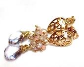 Mystic Pink Quartz Earrings Natural Zircon Earrings Romantic Earrings Pink Earrings Mystic Earrings Pink Opal Earrings Paisley Earrings