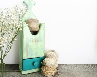 Hanging Storage Shelf - Mint Green Teal - Spring Decor - Upcycled Home Decor