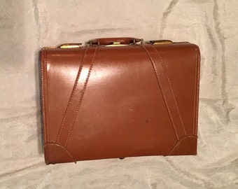Vintage 1950s Genuine Leather Luggage, Suit Case, Brief Case, Overnight Bag, Brass Locks & Leather Handle