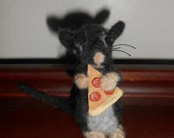 Needle Felted Pizza Rat