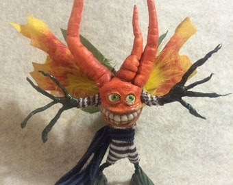 ooak male Fairy friend art doll sculpture Lucky Carrot critter fae pixie butterfly wings silly little thing