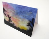 Sunset greetings card, needle felted art, birthday card,