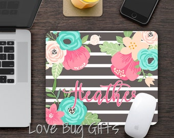 Personalized Mousepad * Stripe * Chic Floral * Shabby * Desk accessory * Mouse Pad