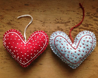 Felt Hearts, Valentine's Heart Ornaments or Door Hangers Embroidered, OFG, FAAP, Valentines's Day Decor, Hanging Hearts, Valentine Gift