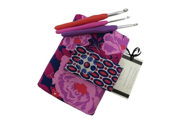 Knitting Organizer Michaels : Purple floral crochet hook organizer case