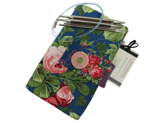 Knitting Organizer Michaels : Blue pink floral interchangeable knitting needle case roll