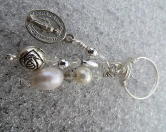Boho Virgin Mother Mary Madonna Mixed Media Vintage Medal Real Pearl Crystal Midi Charm Ring