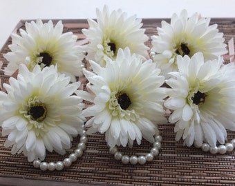 Wrist Corsage, Off White Gerbera Daisy with Champagne Ribbon on Pearl Bracelet
