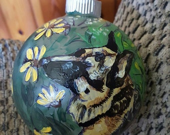 Custom Dog Pet Portrait  Christmas Winter Hand Painted Ornament