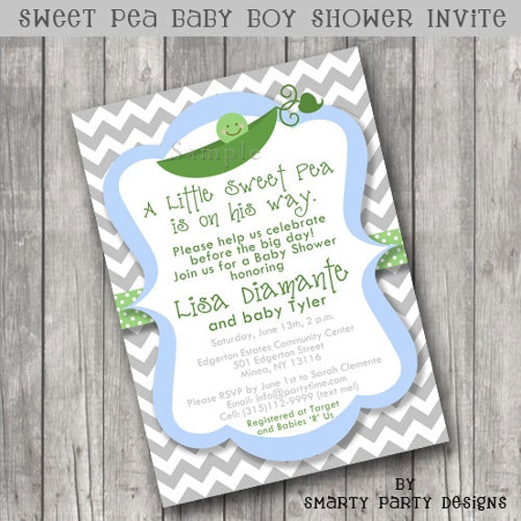sweet pea pod baby shower invitations invite printable personalized