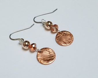 Copper, Rose gold & silver tone handcrafted earrings; Dangle metalwork crystals beads; birthday gift; jewelry; clip on earrings clipons