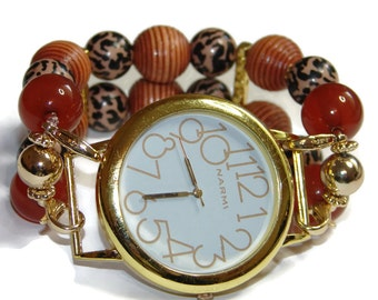 Simple Safari Chunky Beaded Watch- Interchangeable Watch - BeadsnTime - Double Strand Watch - Apple Watch Band - Unique Watch - Teacher Gift