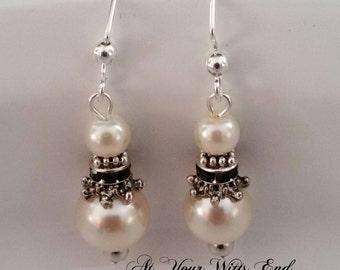 Pearl Earrings, Weddings, bridal earrings, off white pearl earrings, elegant earrings, earrings
