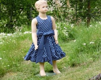 Girls navy blue dress. Navy blue polka dot dress. Navy flower girl dress. Toddler girls blue cotton dress. Nautical first birthday
