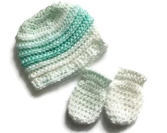 Baby hat and mittens set, newborn 0-6 month's,new born,baby crochet beanie hat,baby shower gift,baby mittens,baby.
