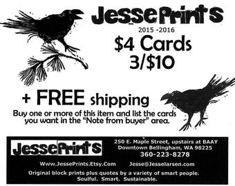 Cards - Any 3 cards for ten dollars. Original block print art by Jesse Larsen in Bellingham, WA.