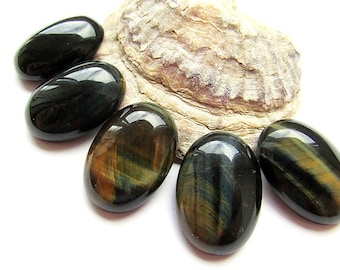 Yellow Blue Tiger Eye Cabochon 25 x 18 mm Oval Shape Cabochon Tiger Eye Gemstone Natural Blue Tiger Eye Jewelry Supplies Craft Supplies (1)