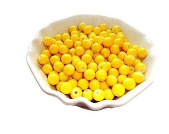 Lemon Hot Yellow Round Glass Beads 8mm, Bright Yellow Beads, 25 pcs.